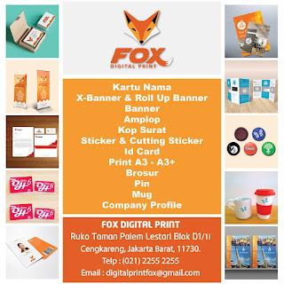Lowongan Kerja Cengkareng Jakarta Barat Lulusan SMA/SMK di FOX DIGITAL PRINT Bagian Operator Mesin Digital Printing Terbaru 2017