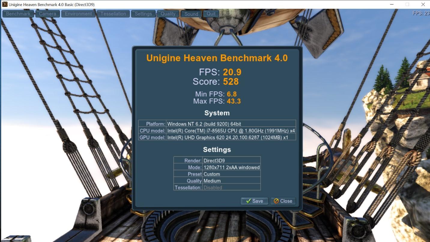 Benchmark Unigine Heaven 4.0 Asus Pro P5440FA
