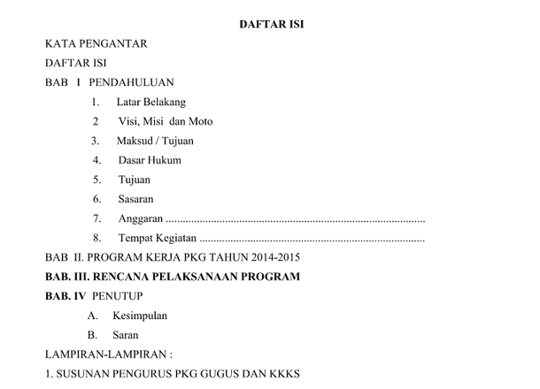 Program Kerja Pusat Kegiatan Guru Pkg Download File