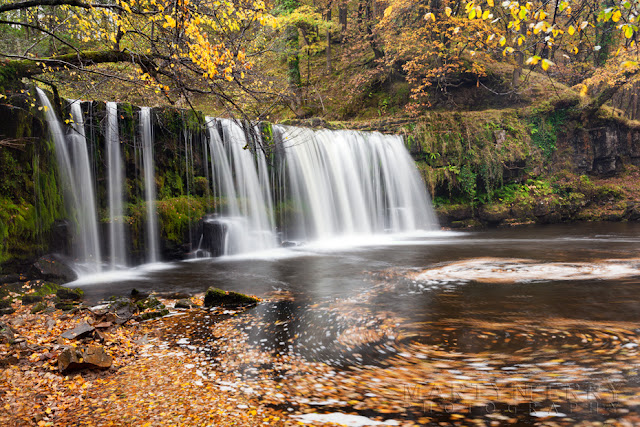 Autumn colour over Upper Gushing Falls in the Brecon Beacons by Martyn Ferry Photography