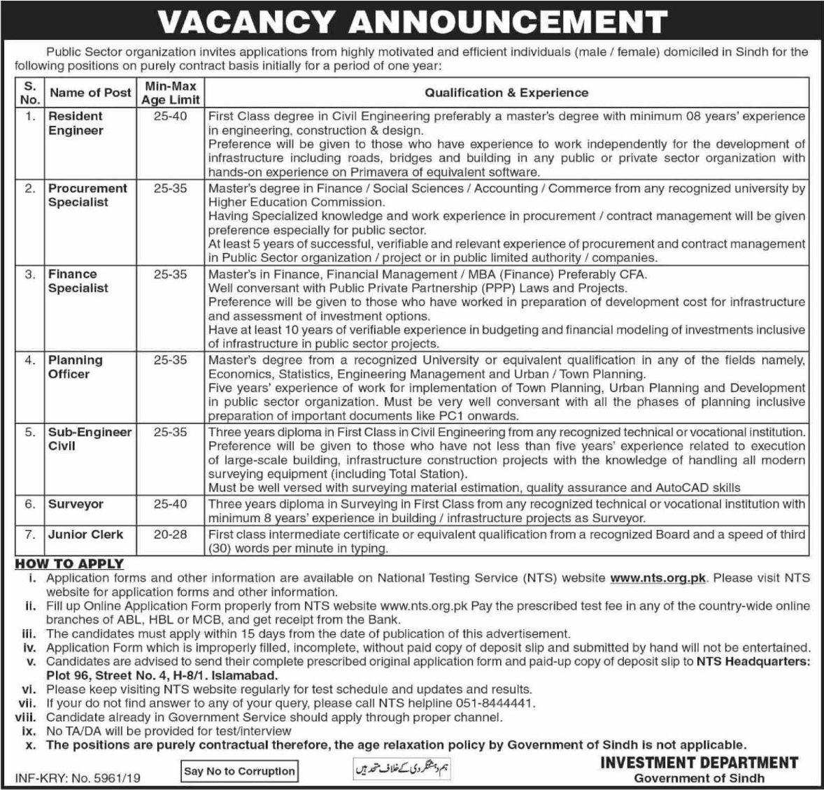 Public Sector Organization Sindh Jobs 2019