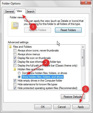 Menampil Hidden File di Windows 7