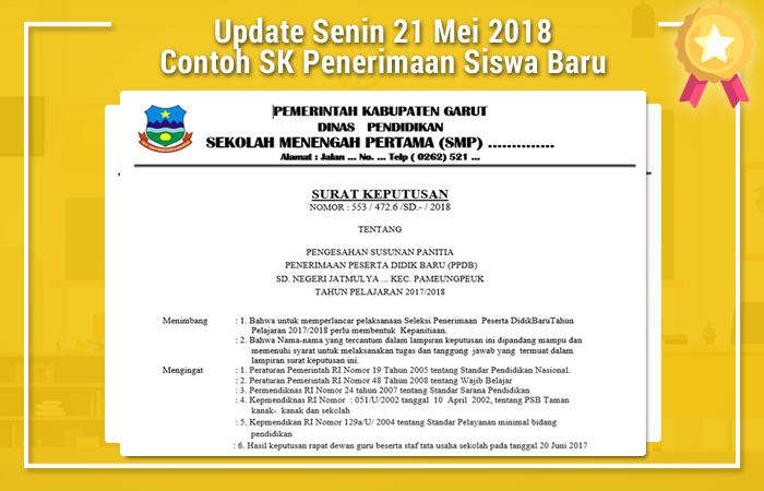 Update Senin 21 Mei 2018 Contoh SK Penerimaan Siswa Baru