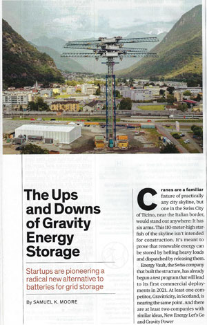 Gravitational Energy Storage System (Source: IEEE Spectrum, Jan 2021)