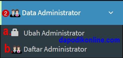 Fungsi menu data administrator di aplikasi e-rapor