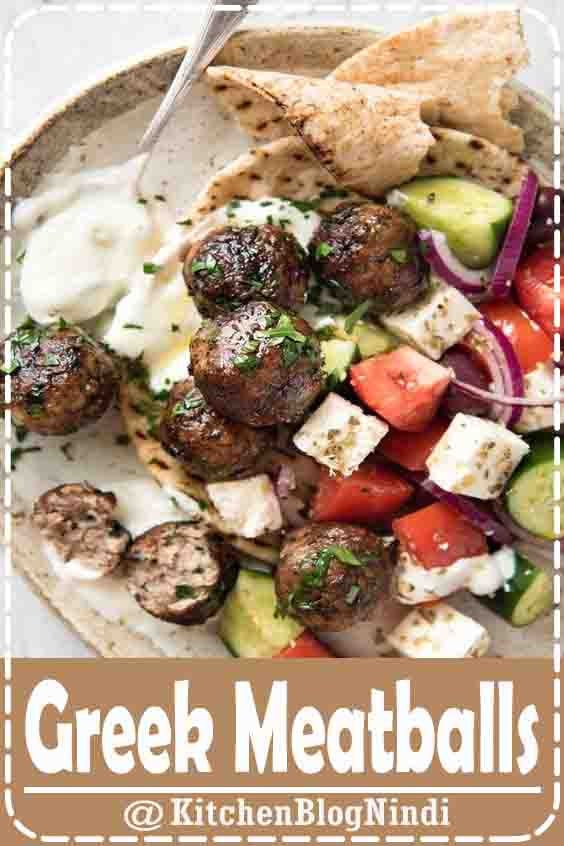 4.9★★★★★ | Juicy Greek Meatballs (Keftedes), beautifully flavoured with red onion, parsley, a hint of mint and dried oregano with a slightly crispy surface. See recipe video below. #Greek #Meatballs