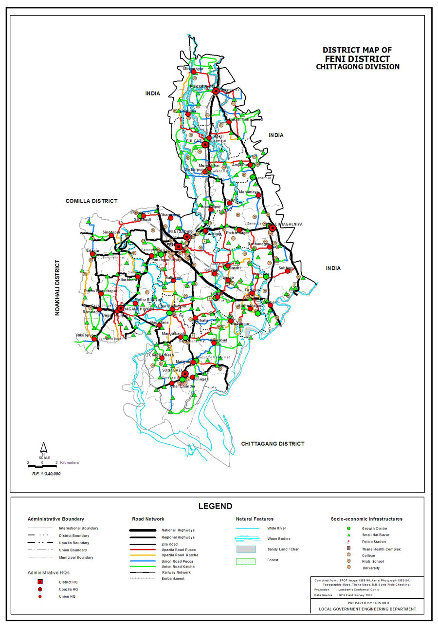 Feni District Map Bangladesh