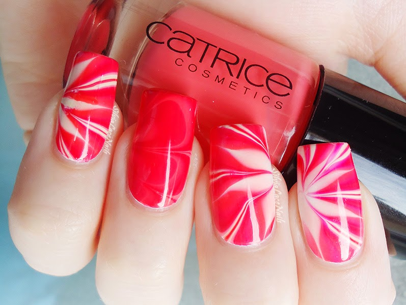 Cherry red and cream flower water marble
