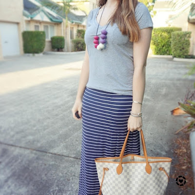 awayfromblue Instagram grey tee navy stripe maxi skirt and Louis Vuitton damier azur MM tote