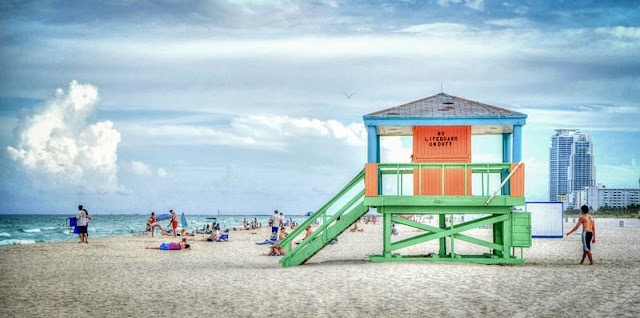 a picture of a lifeguard post on south beach Miami fl