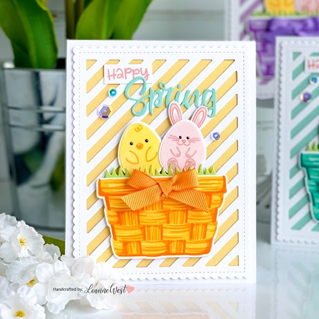 Sunny Studio Stamps: Eggs To Dye For Layered Basket Frilly Frame Dies Spring Themed Easter Basket Cards by Leanne West