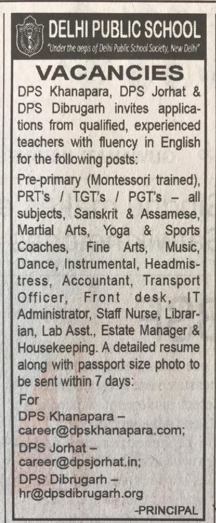 DPS Khanapara, DPS Jorhat and DPS Dibrugarh Recruitment for Librarian