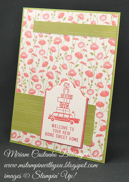 Miriam Castanho-Bollinger, #mstampinwithyou, stampin up, demonstrator, ppa, new home card, happy notes, lots of labels framelits, big shot, pretty petals dsp, su