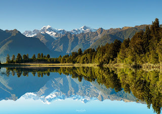 Fox Glacier, Lake Matheson, New Zealand, NZ, Reflections, West Coast