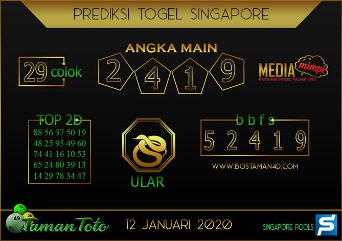 Prediksi Togel SINGAPORE TAMAN TOTO 12 JANUARI 2020