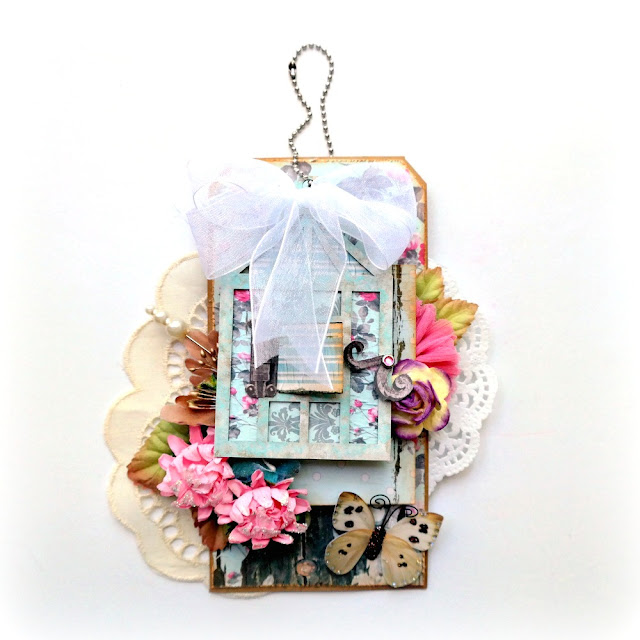 Throught the Window Spring Floral Tag by Dana Tatar for FabScraps - Shabby Rose Collection