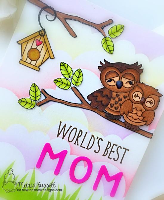 World's Best Mom Card by Maria Russell | Love Owl-ways Stamp Set, What a Hoot Stamp Set, Newton's Birdhouse Stamp Set, Essential Alphabet Die Set and Stencils by Newton's Nook Designs #newtonsnook #handmade