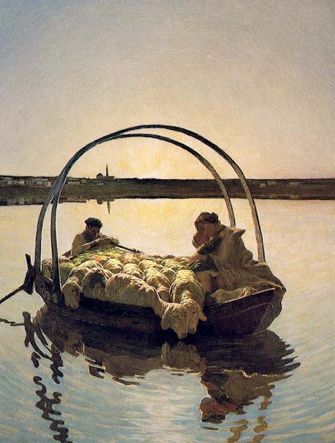 Quadro di G. Segantini, lago di Annone, Lecco, famiglia di contadini prega Ave Maria a trasbordo