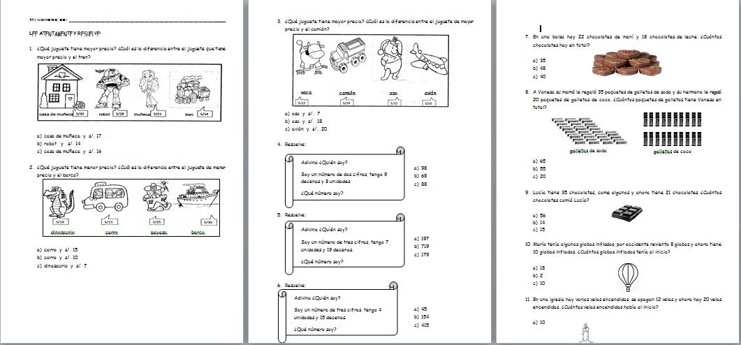 Fichas de Matemática con el modelo de la evaluación de la ECE ~ RUTAS DEL APRENDIZAJE