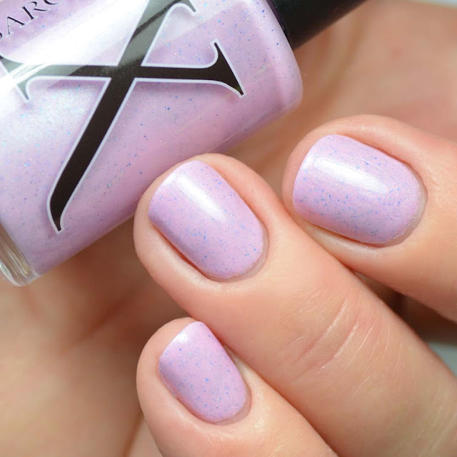 orchid nail polish with flakies three finger swatch