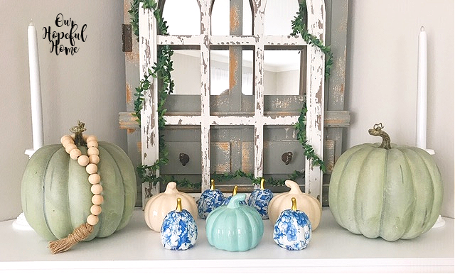 cathedral arch farmhouse wood bead garland faux blue pumpkins mantel decor