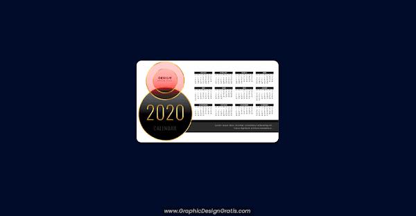 Plantilla de calendario con estilo lujoso 2020