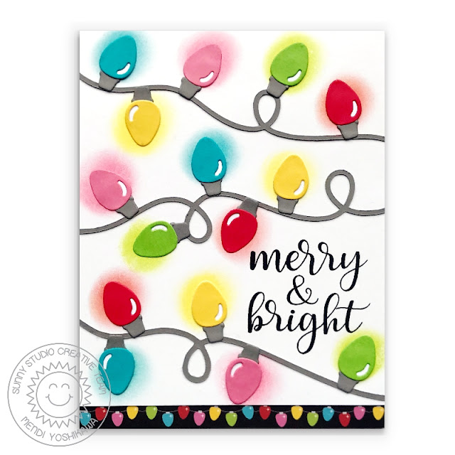 Sunny Studio Stamps: Merry & Bright String of Christmas Lights Light Bulb Holiday Card by Mendi Yoshikawa