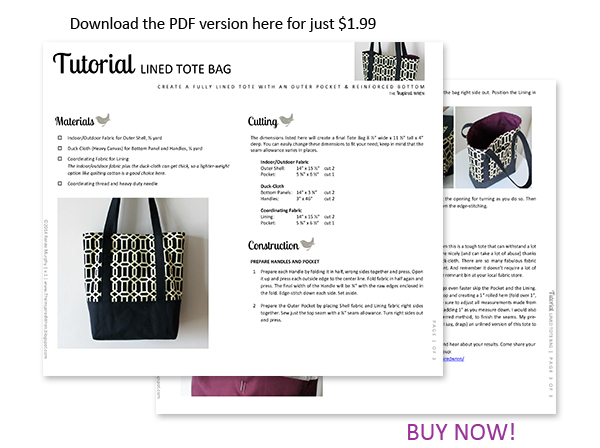Download the printable directions today! | Lined Canvas Tote | The Inspired Wren