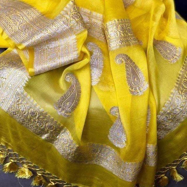 Chiffon khaddi saree yellow