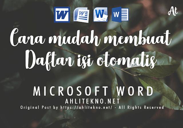 Cara Membuat Daftar Isi Otomatis di Microsoft Word