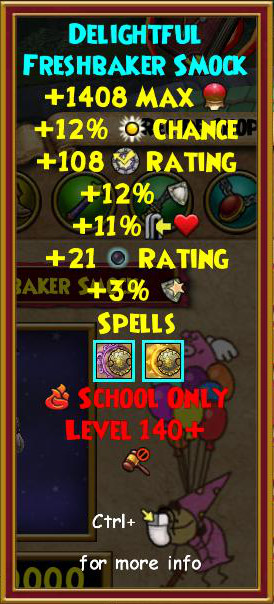Wizard101 Level 140+ Karamelle Crafted Gear