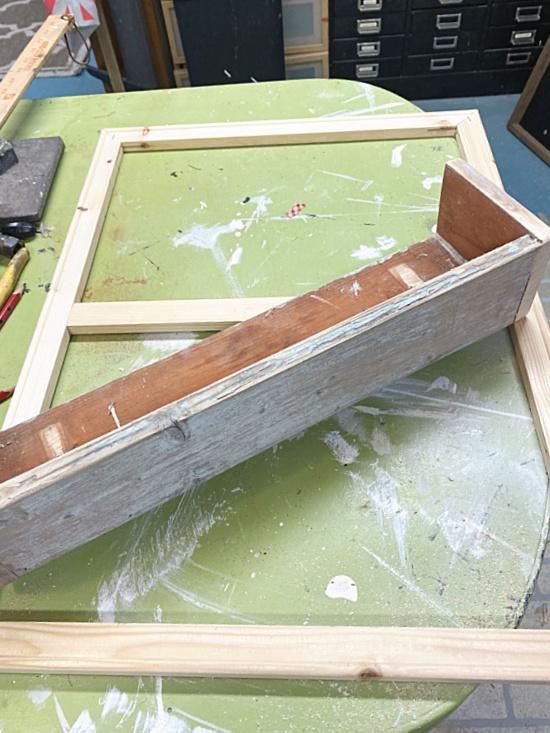 assembling wooden box for flowers