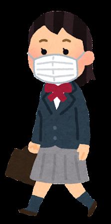 マスクを付けて歩く学生のイラスト(ブレザーの女子学生)