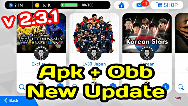 Download New Update V 2.3.1 Apk+Obb PES 2018 Mobile (Android/IOS)