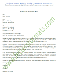 Demand Notice for Overdue Payment on Promissory Note (Sample)