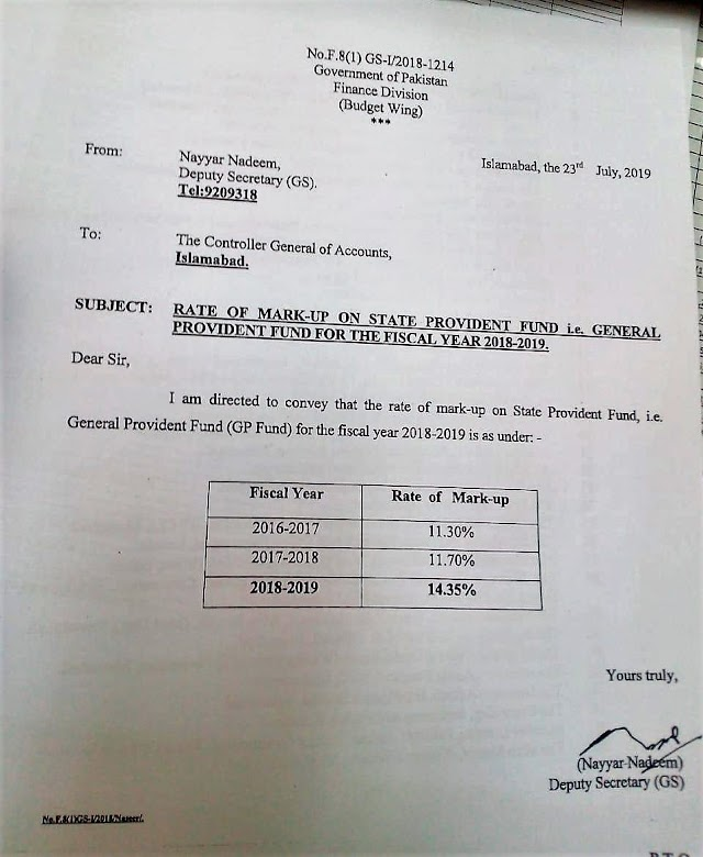 RATE OF MARKUP ON STATE PROVIDENT FUND