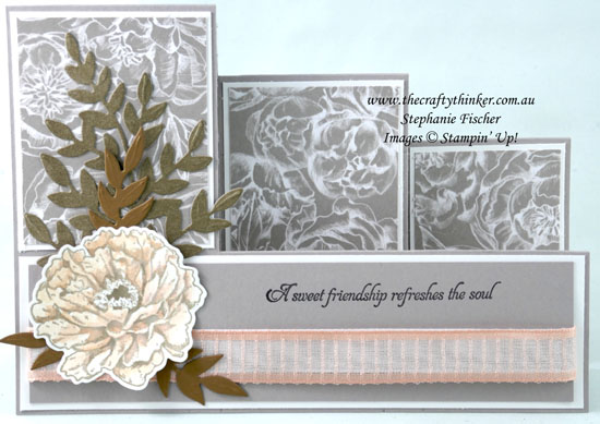 #thecraftythinker #stampinup #cardmaking #funfold #triplestepcard #prizedpeony , Prized Peony, Fun Fold, Triple Step Card, Stampin' Up Demonstrator, Stephanie Fischer, Sydney NSW