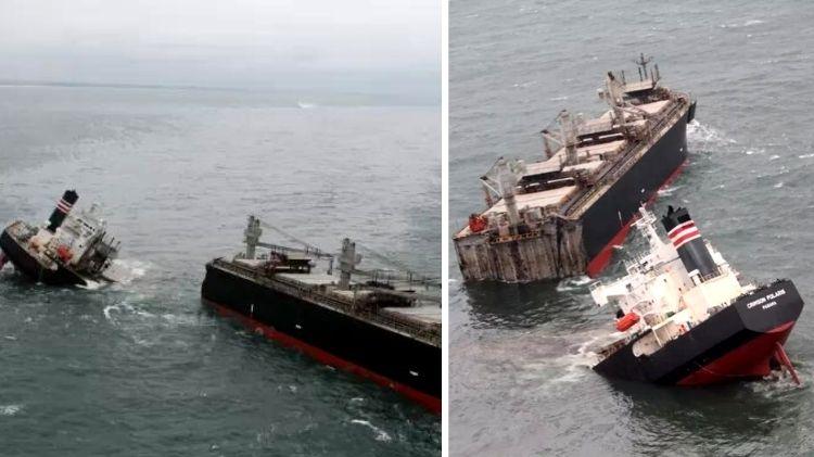 """Navio """"Crimson Polaris"""" com bandeira do Panamá se parte em dois no Japão"""