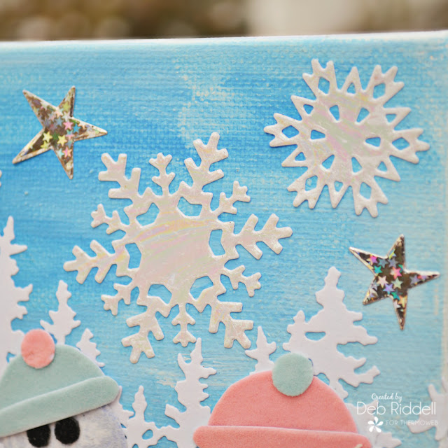 Snowy Snowmen Mixed Media Canvas Detail