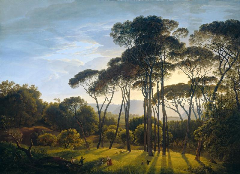 """""""Paisaje italiano con pinos parasol"""" (Italiaans landschap met parasoldennen), Hendrik Voogd , 1807"""