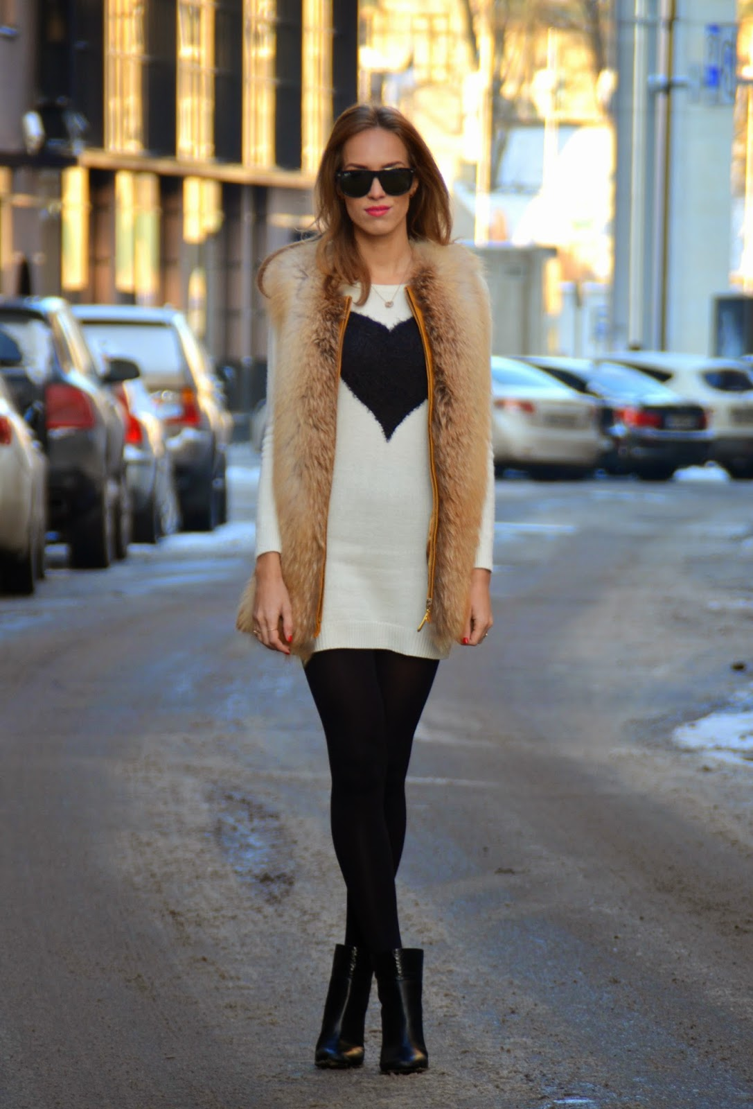 white-knitted-mini-dress-fur-vest kristjaana mere