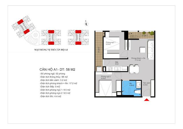 Chi tiết căn A1 chung cư Hateco Xuân Phương