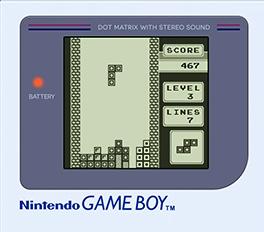 Imagen del videojuego Tetris corriendo en una Game Boy, en blanco y negro