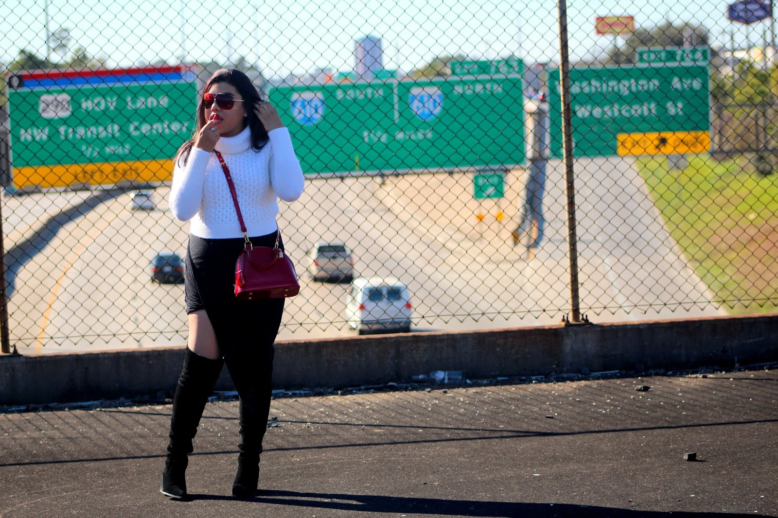 Above the I-10 Interstate | Warm Knits and Asymmetric Skirt