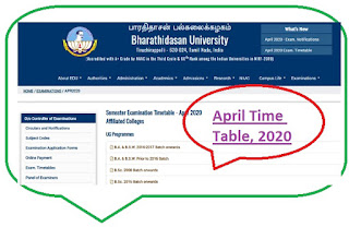 BDU Time Table April 2020