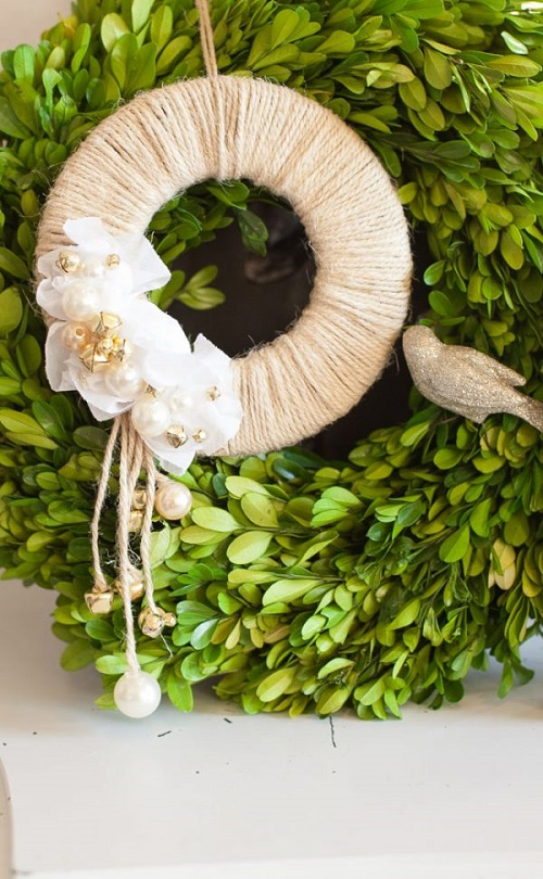 rustic chic jingle bell door wreath