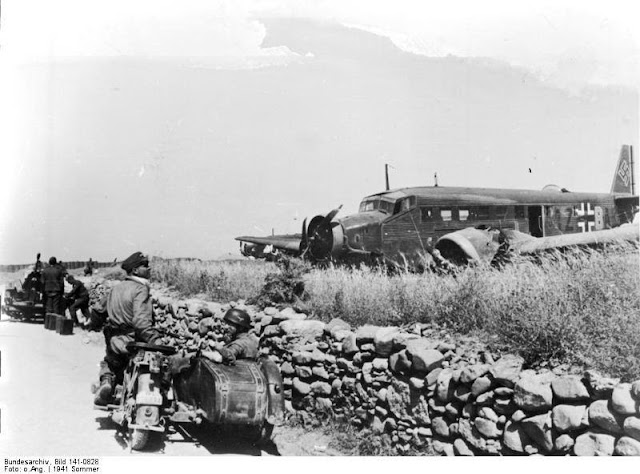 Wrecked Junkers Ju-52 at Maleme airfield in Crete 21 June 1941 worldwartwo.filminspector.com