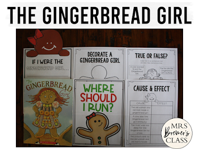 The Gingerbread Girl book study literacy unit with Common Core aligned companion activities and a craftivity for K-1