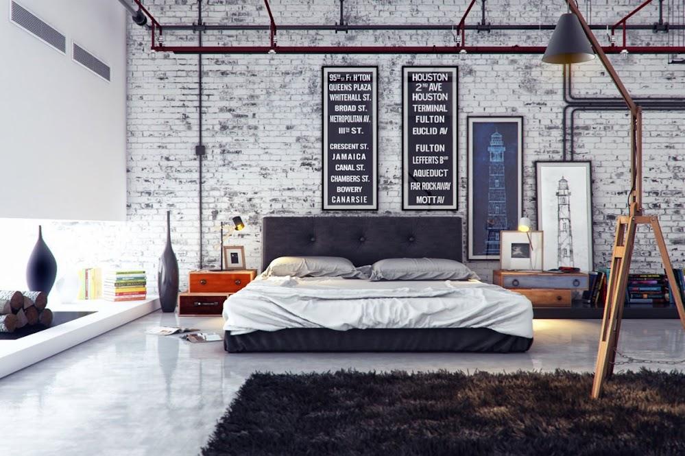 grey-industrial-brick-wall-bedroom