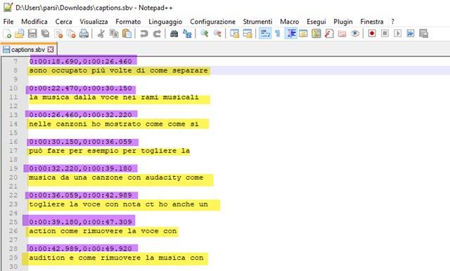 sottotitoli editabili con notepad++